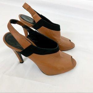Rebecca Minkoff Brown and Black Leather Heels